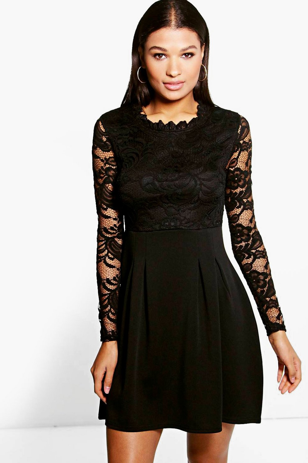 8207525e805e Lisa High Neck Lace Skater Dress