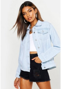 Womens Blue Stone Wash Oversize Boyfriend Denim Jacket