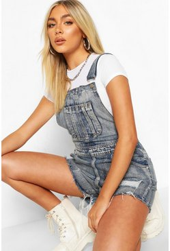 Womens Mid blue Frayed Edge Denim Dungaree Shorts