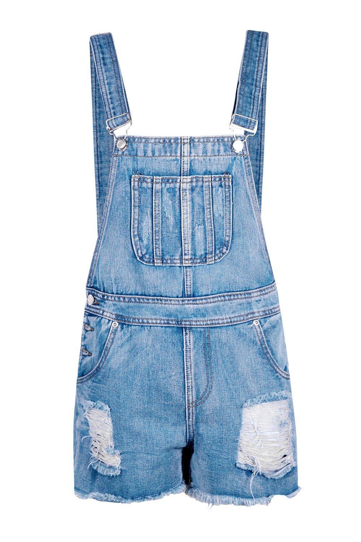 borde medio deshilachado Pantalones Peto Azul y con cortos estilo Denim w7qzxZqnPX