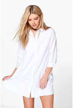 Womens White Sophia Shirt Dress
