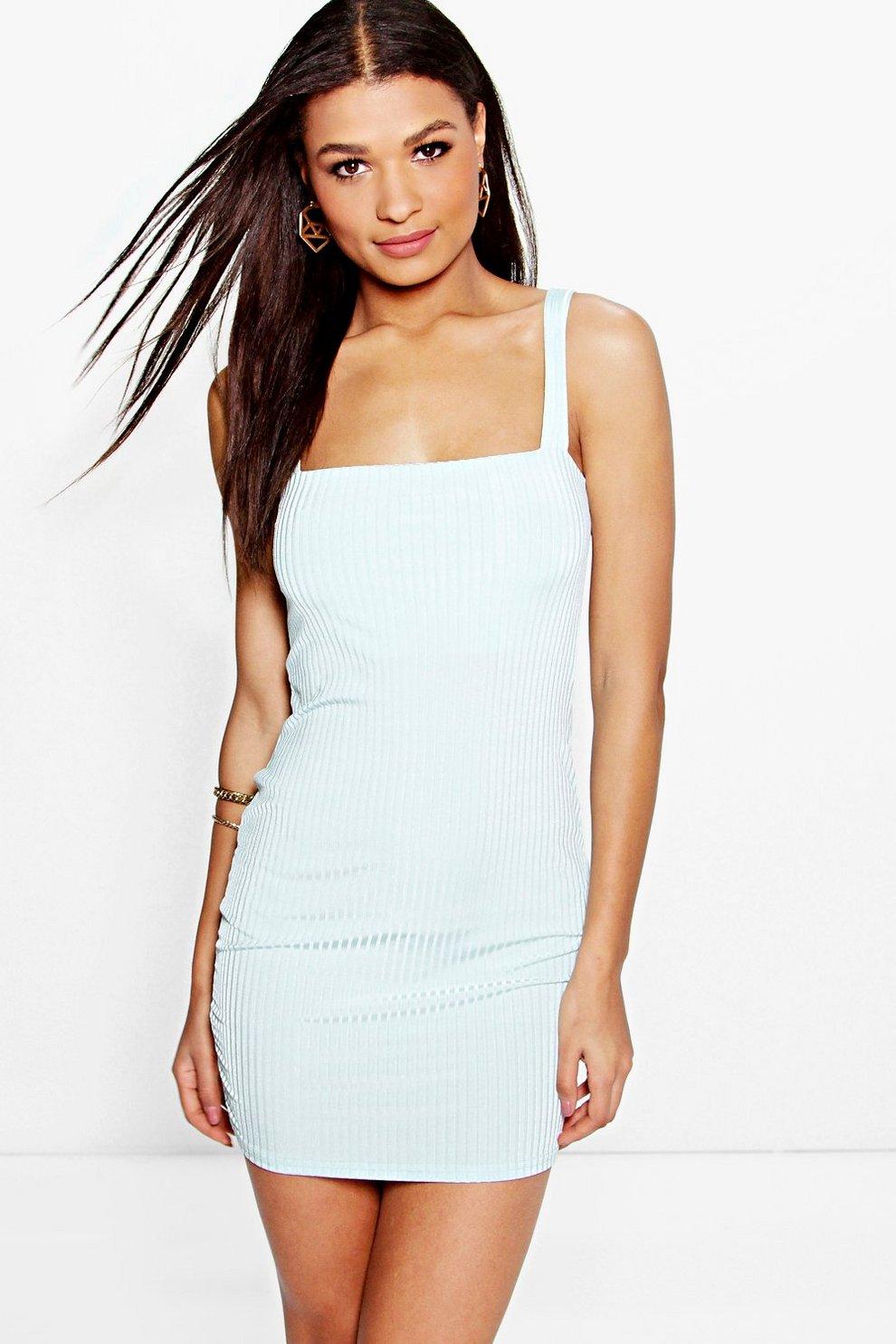 31960b4474 Fi Wide Strap Square Neck Ribbed Bodycon Dress | Boohoo
