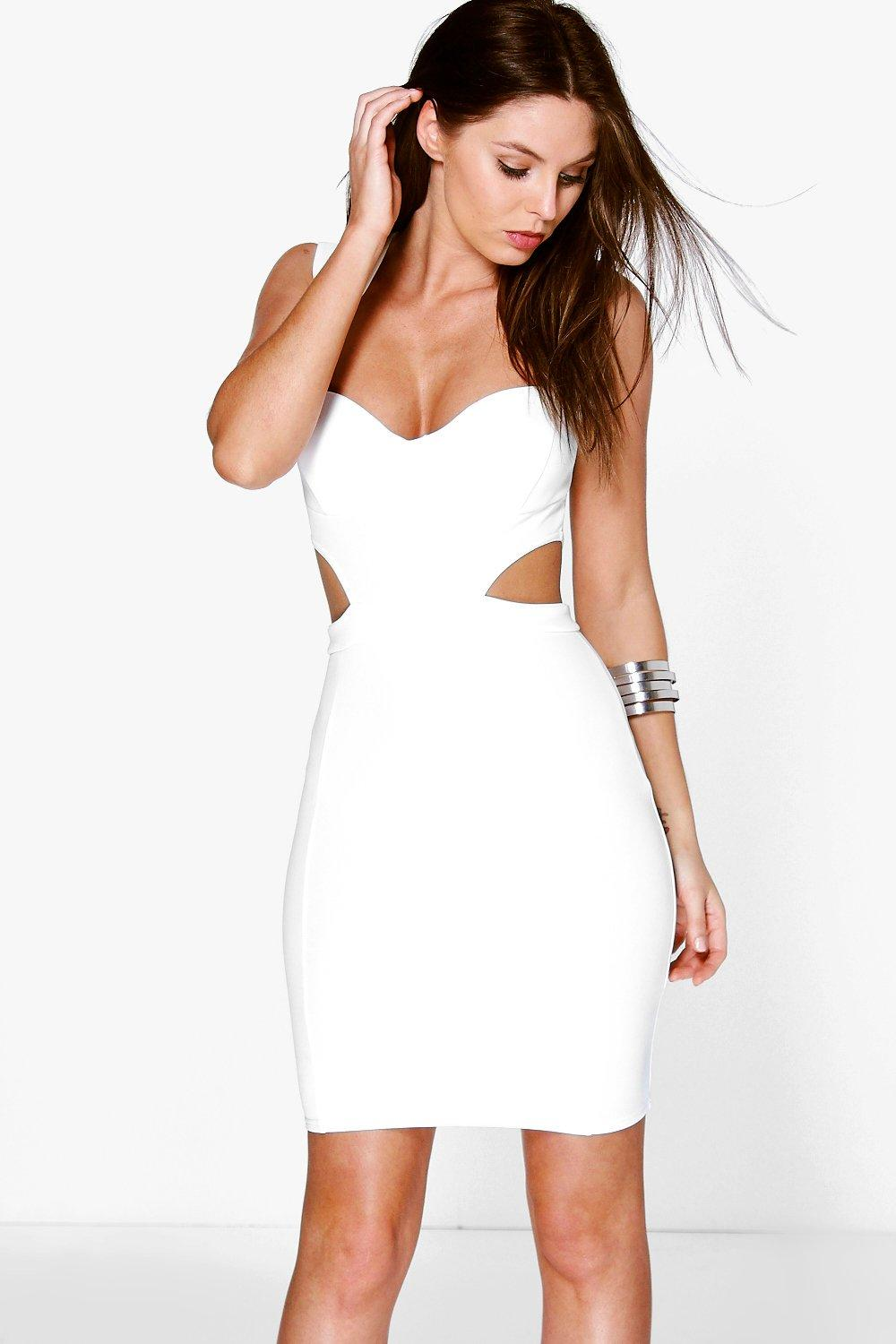 Robyn Sweetheart Cut Out Side Bodycon Dress At Boohoo Com
