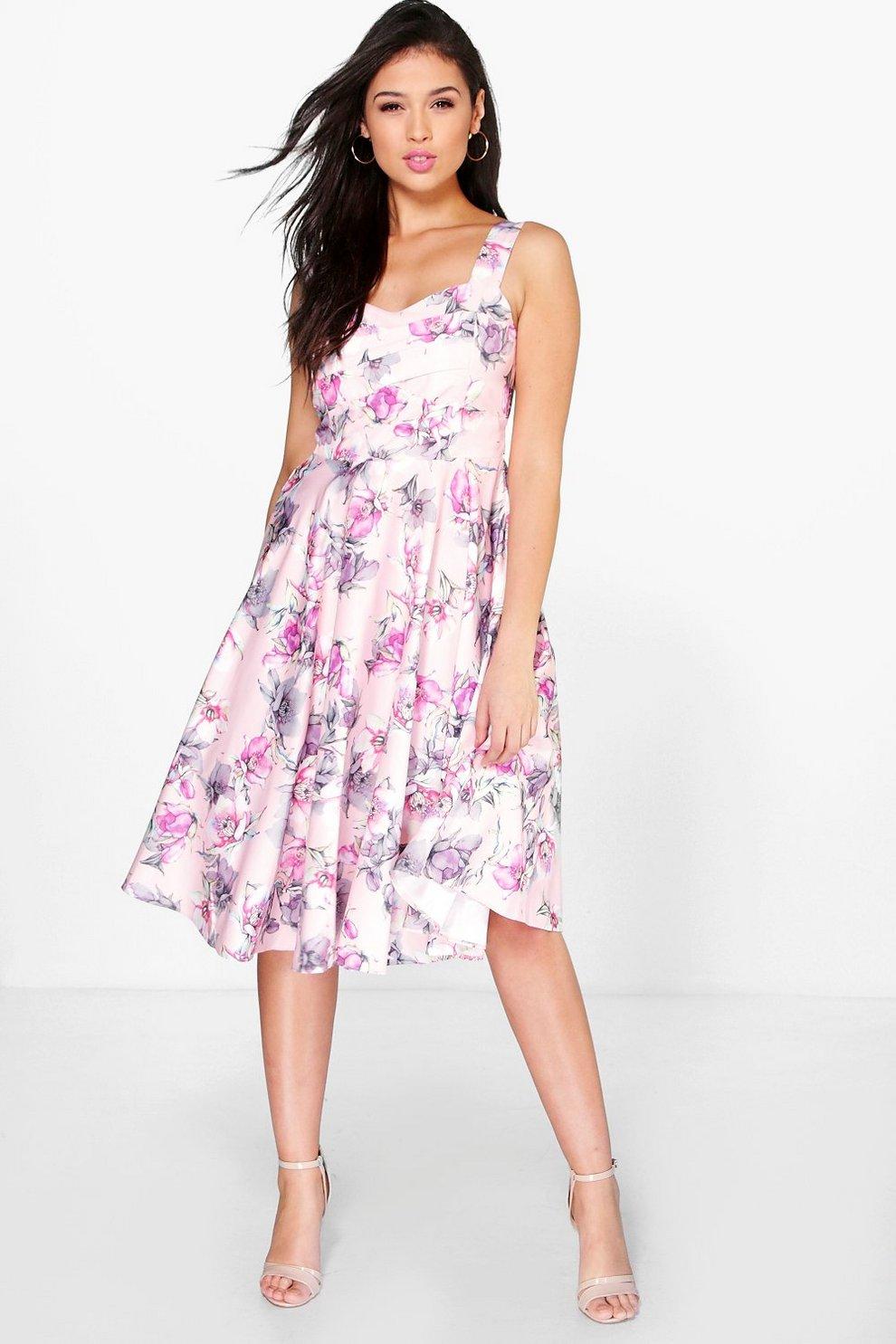 80888fed18b5d Davis Floral Print Chiffon Midi Skater Dress | Boohoo