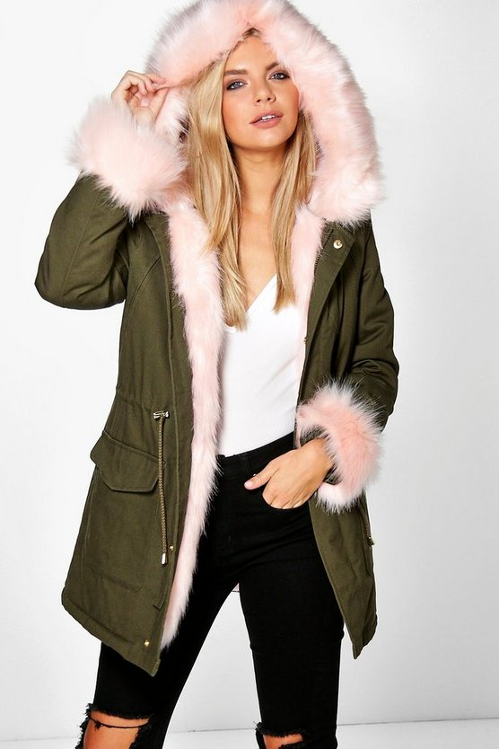 Boutique Tia Detachable Faux Fur Cuff & Collar Parka