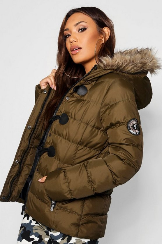 Womens Olive Short Quilted Bubble Jacket