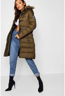 Womens Olive Quilted Faux Fur Hood Parka