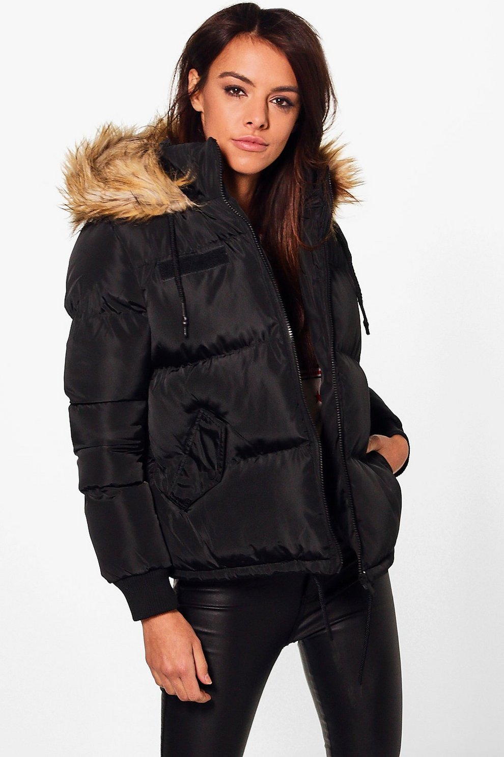 33083ca9f Anna Short Faux Fur Collar Quilted Jacket | Boohoo