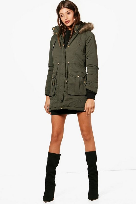 Hooded Parka With Faux Fur Trim