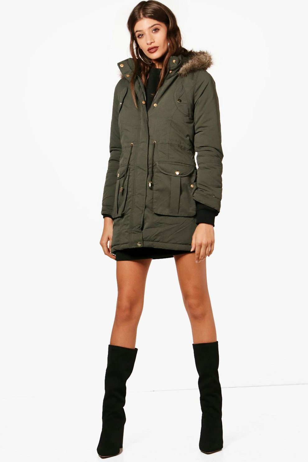 fda93cbed93c4 Hooded Parka With Faux Fur Trim | Boohoo