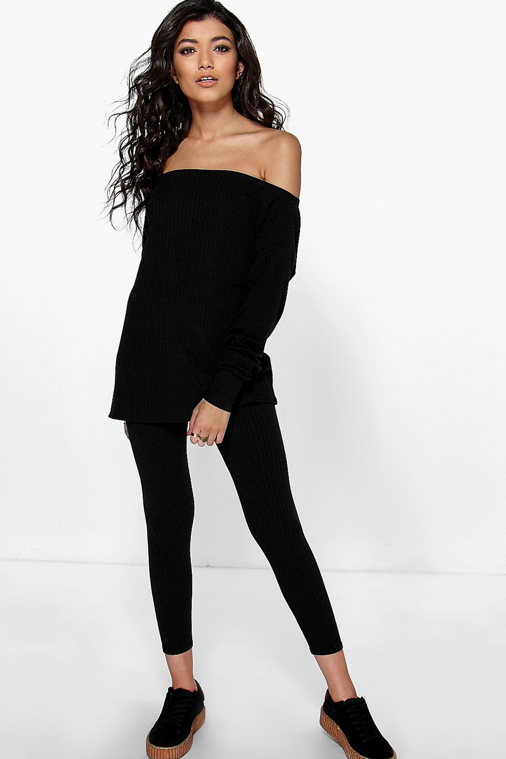 57593ffbc28b6d Mia Oversized Off Shoulder Knitted Loungewear Set   Boohoo