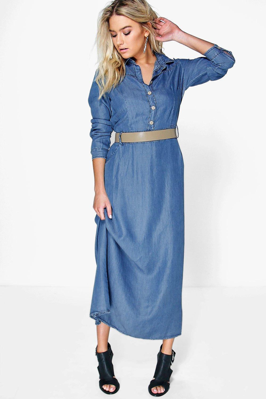 new product f2b16 4d959 sarah abito lungo in denim con bottoni e maniche lunghe   Boohoo