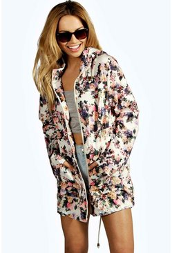 Womens Multi Floral Hooded Festival Rain Mac