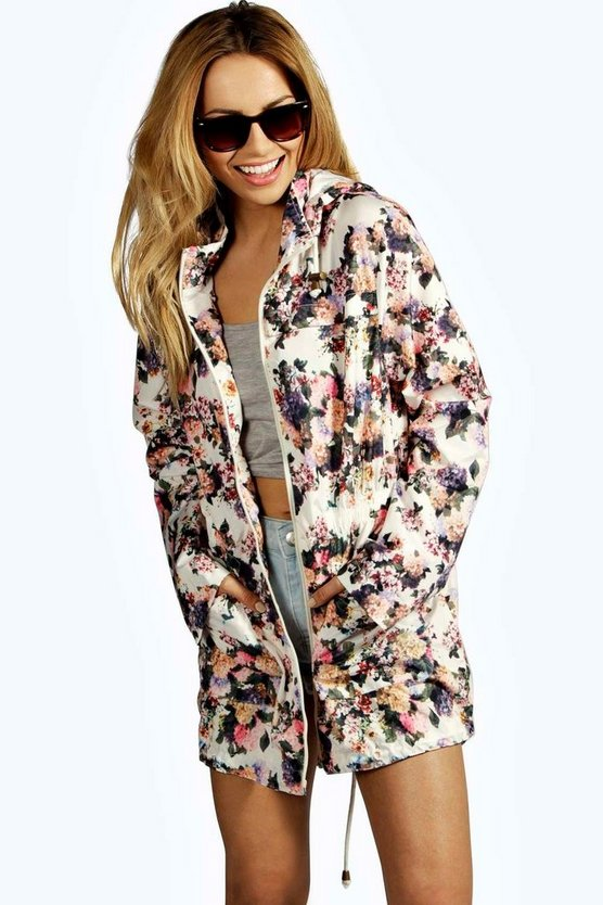Floral Hooded Festival Rain Mac
