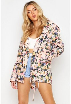 Womens Pale pink Floral Hooded Festival Rain Mac