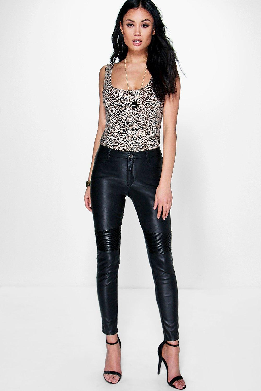 1cc3c4a73ce2 Loren Biker Leather Look Skinny Trousers | Boohoo