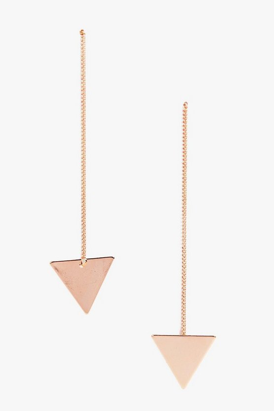 Womens Rose Gold Triangle Drop Earrings