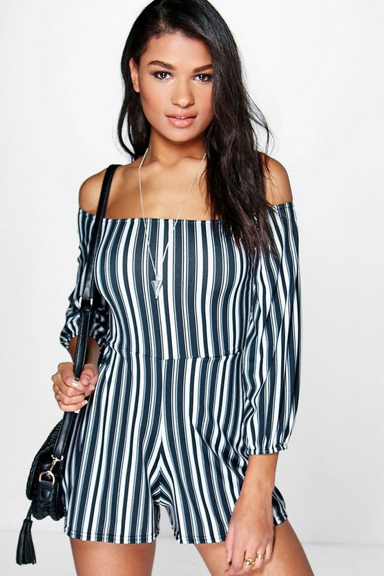 Womens Black Laura Striped Off The Shoulder Playsuit
