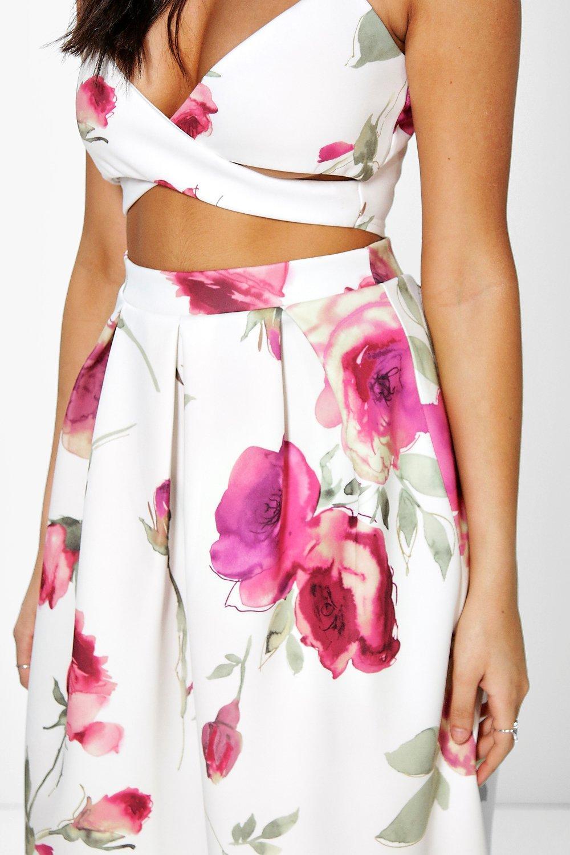 amp; MIDI Multicolor falda de Corpiño Conjunto Floral estampado con Cxxw0tq7