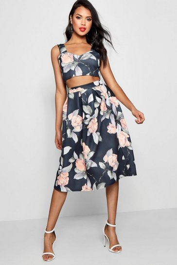 Womens Multi Crop Top & Full Midi Skirt Co-Ord Set