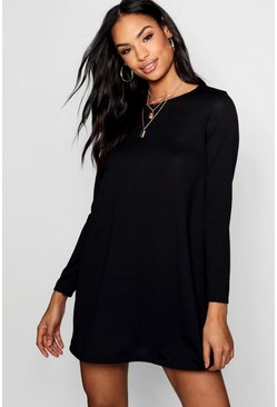Womens Black Knitted Swing Dress