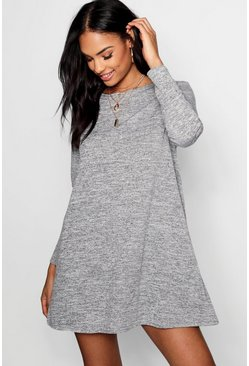 Womens Grey Knitted Swing Dress