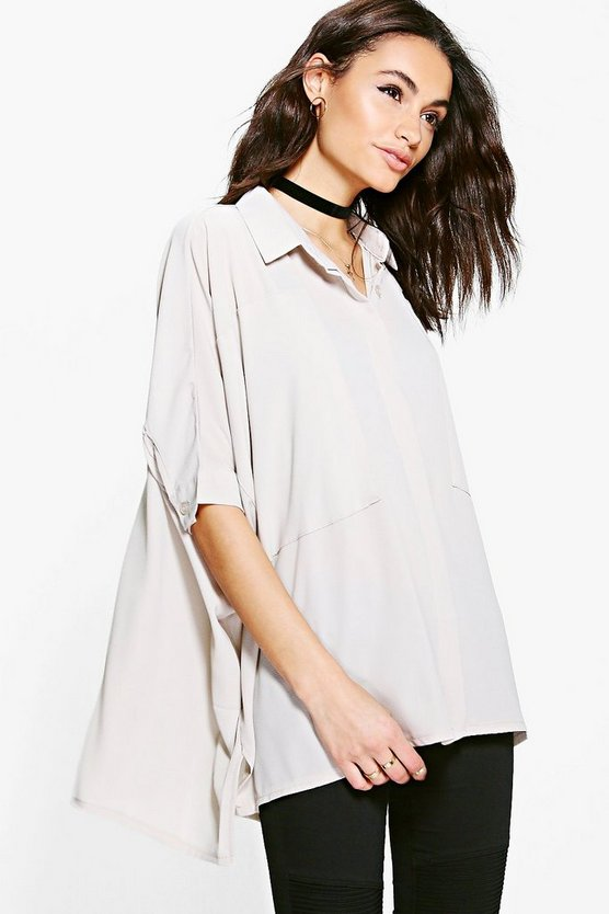 Womens Stone Cat Oversized Panel Detail Batwing Shirt
