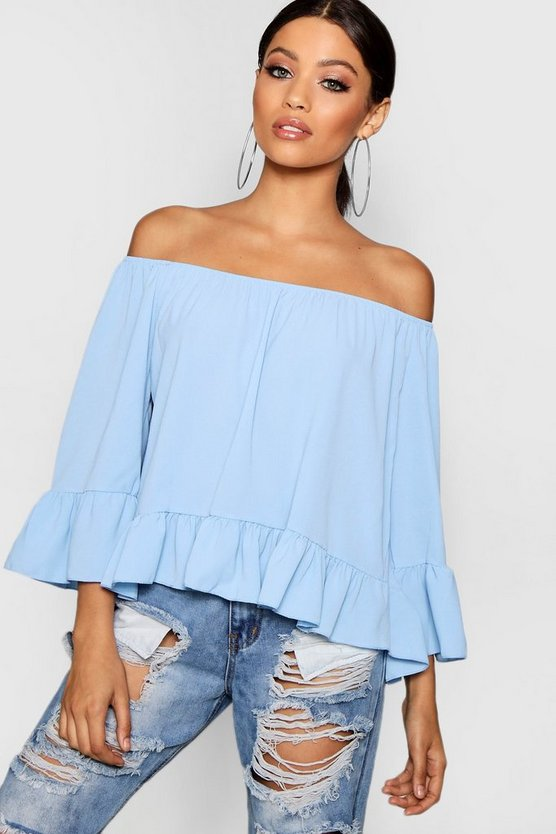 Woven Off The Shoulder Frill Sleeve Top