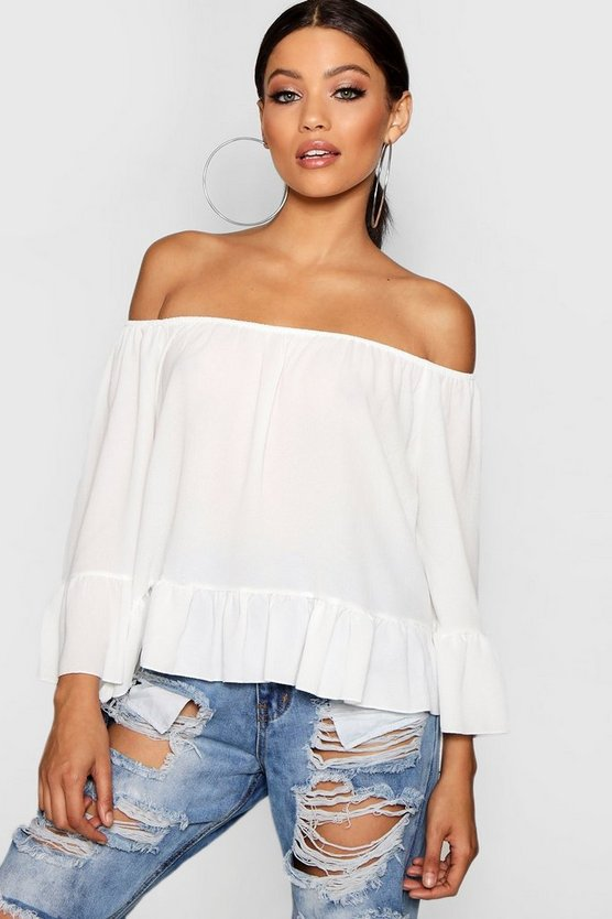 Womens White Woven Off The Shoulder Frill Sleeve Top