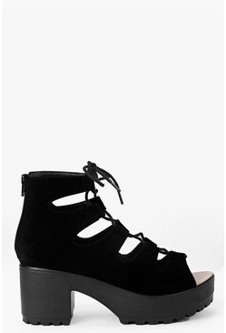 Womens Black Cleated Peeptoe Lace Up Sandals