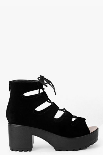Black Cleated Peeptoe Lace Up Sandals