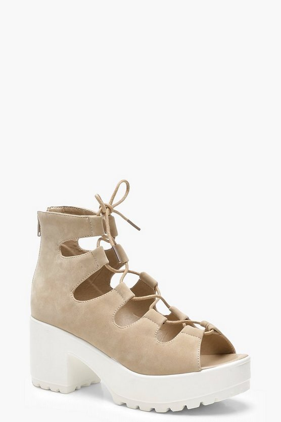 Cleated Peeptoe Lace Up Sandals
