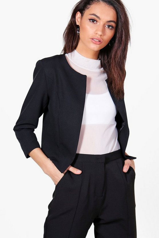 Womens Black Diana Crop Woven Jacket