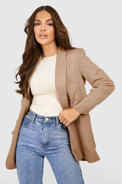 Women's 70s Shirts, Blouses, Hippie Tops Womens Ruched Sleeve Blazer - Beige - M $35.00 AT vintagedancer.com