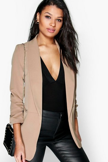 Womens Camel Ruched Sleeve Blazer