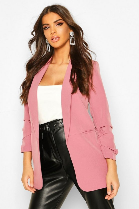 Womens Mauve Ruched Sleeve Blazer