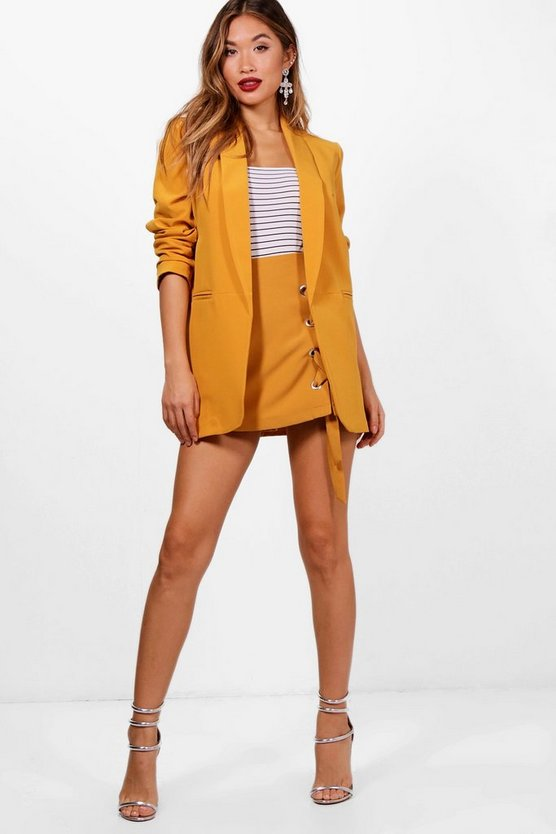 Womens Mustard Ruched Sleeve Blazer