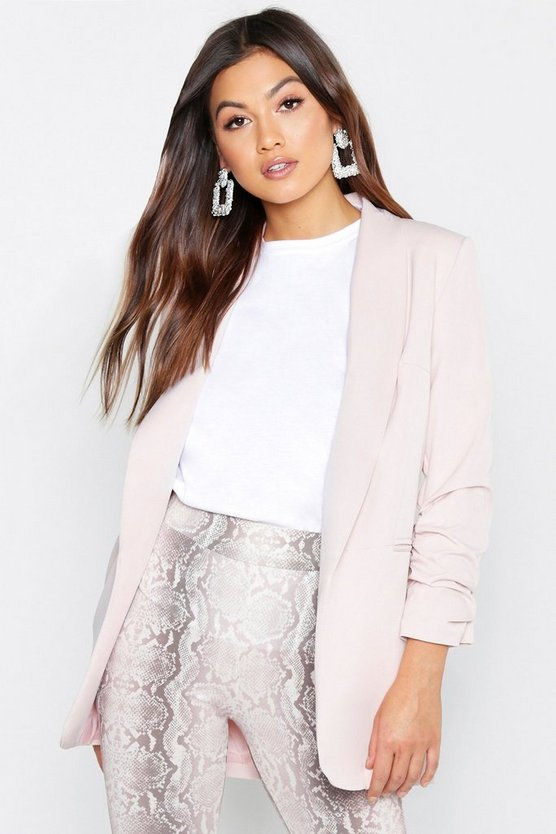 Womens Rose Ruched Sleeve Blazer