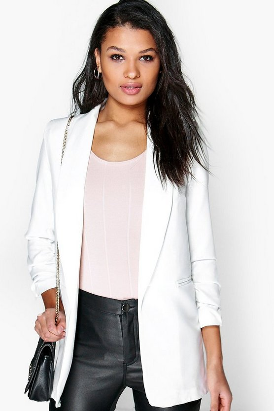 White Ruched Sleeve Blazer