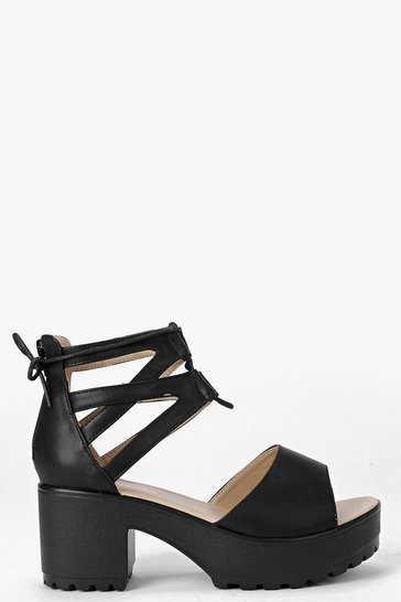 Black Lace Up Two Part Cleated Sandals