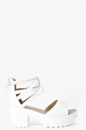 Womens White Lace Up Two Part Cleated Sandals