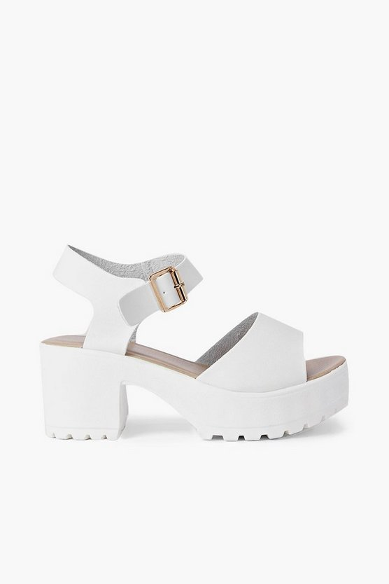 Womens White Peeptoe Two Part Cleated Sandals