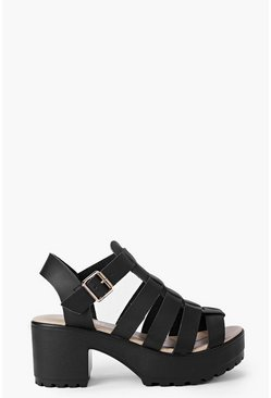 Black Fisherman Cleated Sandals