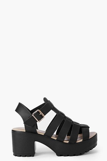 Womens Black Fisherman Cleated Sandals