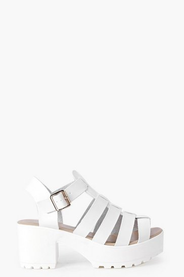 Womens White Fisherman Cleated Sandals