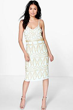 Where to Buy 1920s Dresses Boutique Sulin All Over Hand Beaded Midi Dress sky $82.00 AT vintagedancer.com