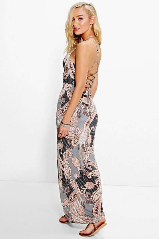 Amelie Paisley Strappy Back Maxi Dress