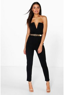 Womens Black Bandeau Belted Jumpsuit