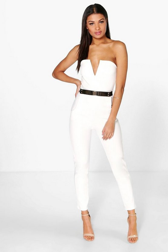 Womens Ivory Bandeau Belted Jumpsuit