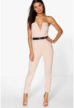 Womens Stone Bandeau Belted Jumpsuit